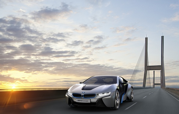 Picture the sun, bridge, speed, BMW, i8Concept
