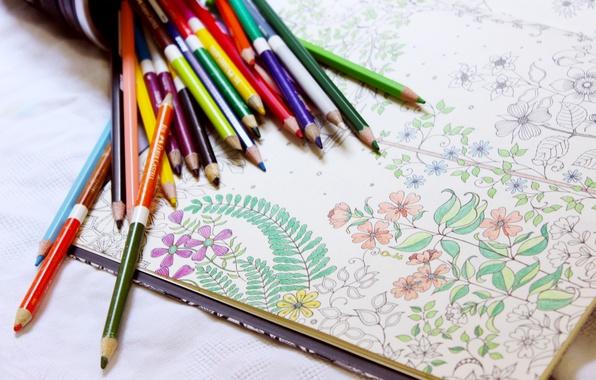 Picture flowers, figure, colored, pencils, album