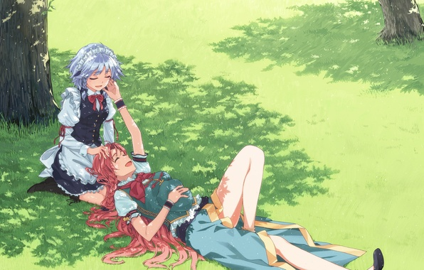 Picture field, girls, tree, mood, tenderness, shadow, gesture, touhou, izayoi sakuya, art, hong meiling, hakui ami