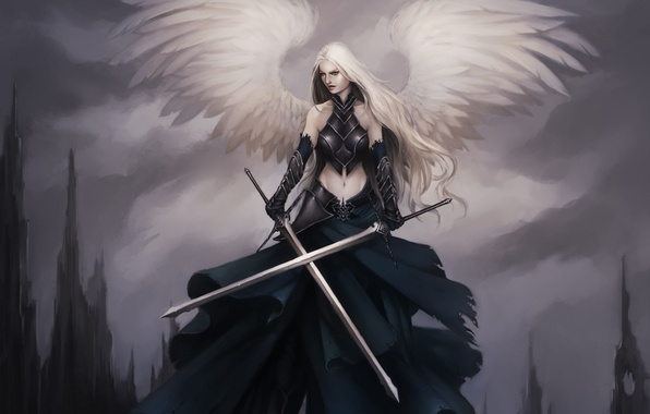 Picture girl, weapons, rocks, wings, angel, sword, feathers, art, armor, Lucas Torquato de Resende