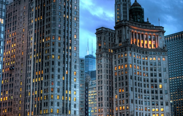 Picture lights, building, skyscrapers, the evening, USA, America, Chicago, Chicago, USA, skyscrapers, illinois, Il