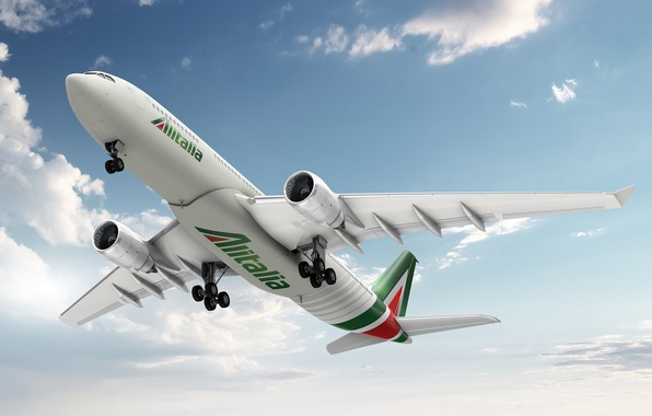 Picture the sky, clouds, Airport, Italy, the plane, the rise, Airbus, A-330, Alitalia