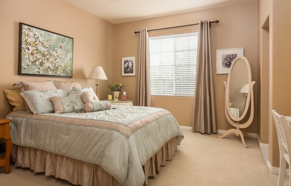 Picture design, style, bed, pillow, mirror, bedroom, decor