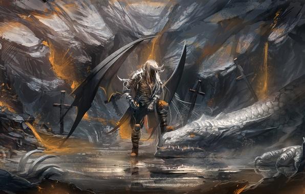 Picture crosses, dragon, sword, warrior, art, bones, sakimichan