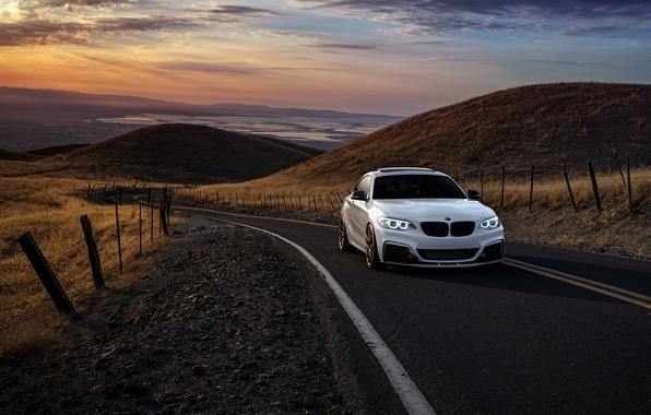 Picture BMW, Car, Front, Sunset, Sunrise, Mountains, Wheels, Before, M235i, Garde, San Jose