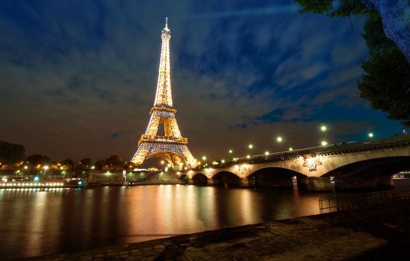 Picture night, bridge, lights, river, France, Paris, Hay, Eiffel tower
