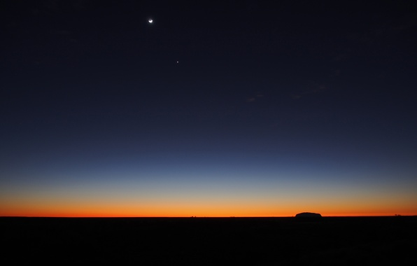 Picture the sky, sunset, night, star, a month, horizon, twilight