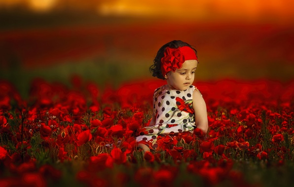 Picture flowers, mood, Maki, girl, headband, bokeh