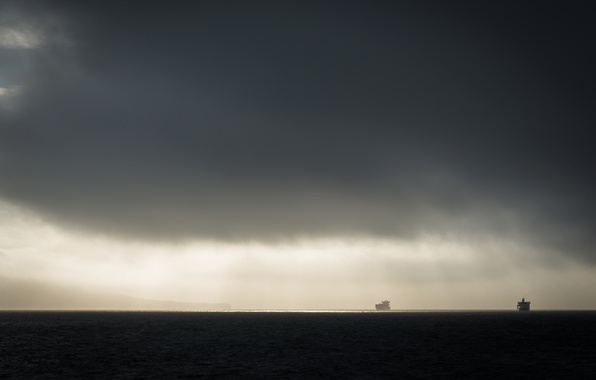 Photo wallpaper landscape, ships, fog, sea