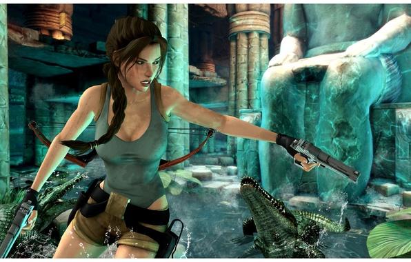Picture girl, gun, crocodile, lara croft, tomb raider