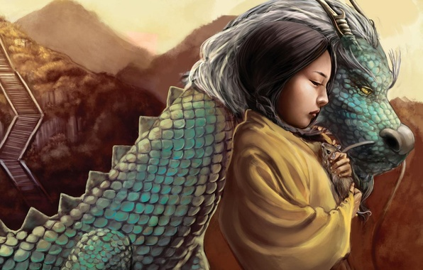Picture fantasy, dragon, girl, friends