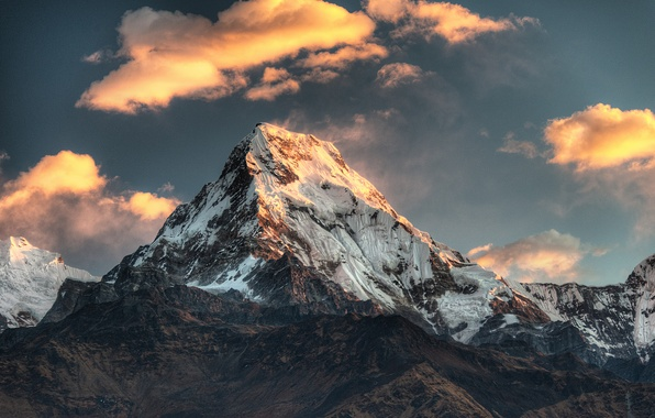 Picture snow, mountain, top, Nepal, Poon Hill