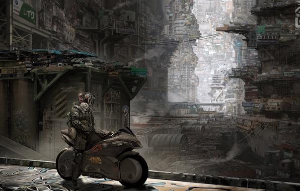 Picture the city, fiction, robot, motorcycle, bike, cyborg, cyberpunk, slums