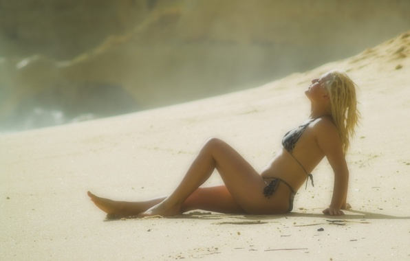 Picture sand, swimsuit, Beach