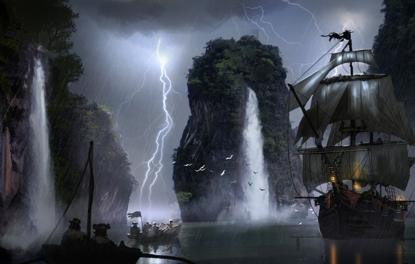 Picture lightning, boat, ship, waterfall, art, sails, pirates