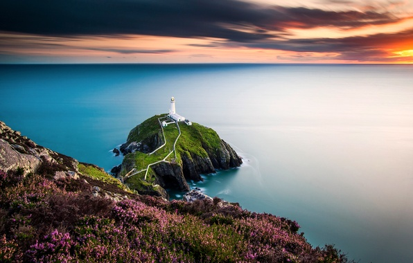 Picture lighthouse, Wales, The Irish sea, the rocky island of South Stack