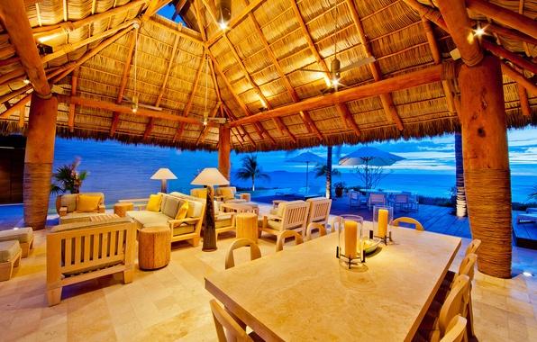 Picture ocean, sunset, interior, villa, luxury, mexico