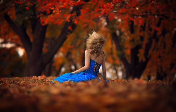 Picture autumn, leaves, girl, the wind, dress, bokeh