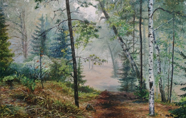 Picture landscape, nature, fog, picture, painting, path, Lutsenko, Wake forest