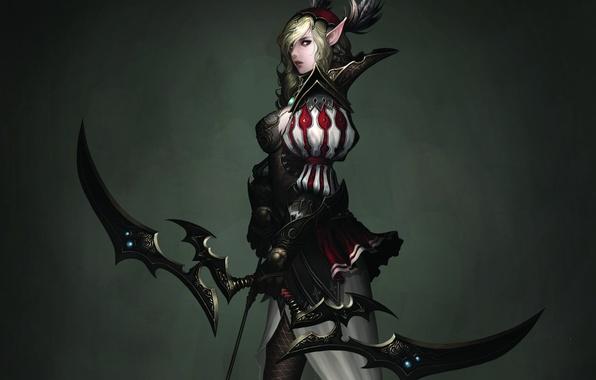 Picture girl, background, bow, Archer, art, elf, Atlantica Online