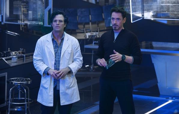 Picture frame, Hulk, laboratory, Iron Man, Robert Downey Jr., Robert Downey Jr., Mark Ruffalo, Mark Ruffalo, …