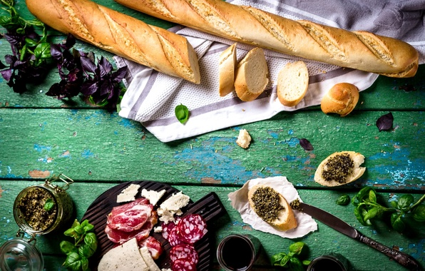 Picture cheese, bread, meat, baguette, sausage, Basil, pesto