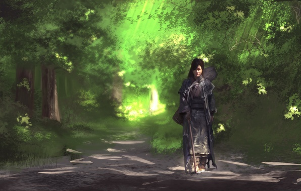 Picture road, forest, Asian, art