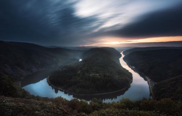 Picture forest, river, Germany, Saar, Saarschleife