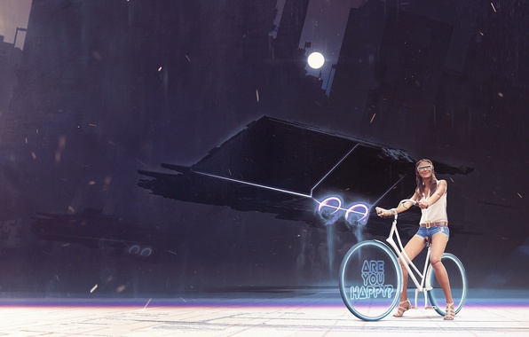 Picture girl, bike, the moon, art, glasses, wheel, cyborg