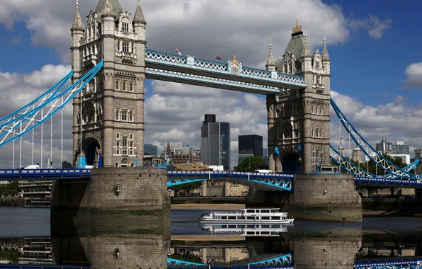 Picture the sky, water, clouds, reflection, England, London, the evening, Europe, UK, Thames, Tower bridge, sky, …