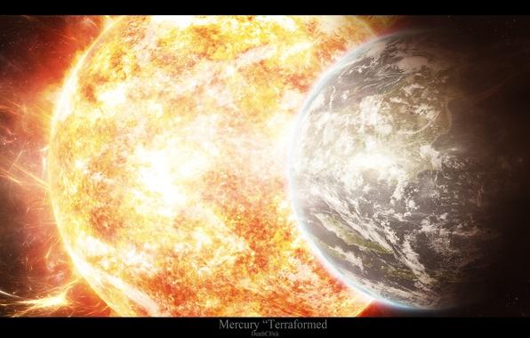 Picture the sun, light, star, planet, radiation, mercury