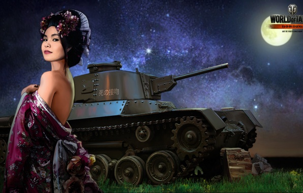 Picture girl, night, the moon, Japan, tank, girl, tanks, WoT, World of tanks, tank, World of …