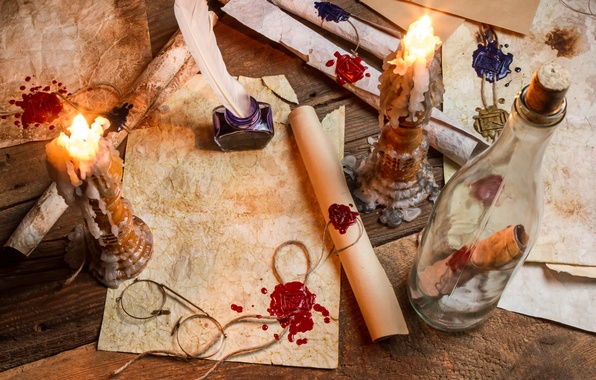Picture paper, pen, bottle, candles, glasses, wax, ink, parchment, scrolls, print, wax