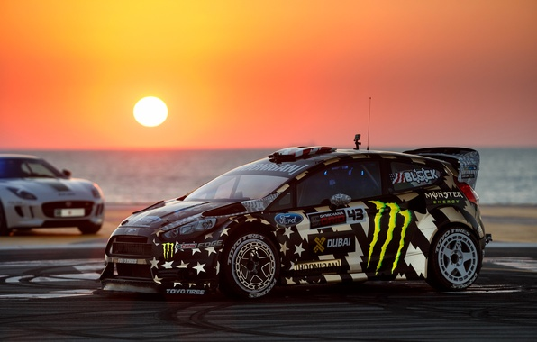 Wallpaper Ford, Dubai, Sunset, Ken Block, Fiesta, Gymkhana ... Gymkhana 5 Wallpaper