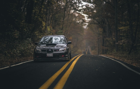 Picture road, autumn, forest, leaves, trees, foliage, lights, Subaru, WRX, front, STI