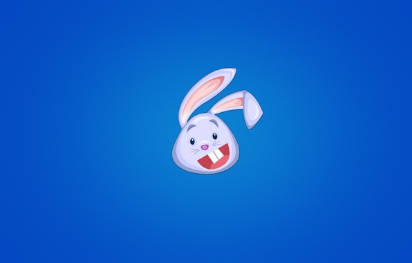 Picture animal, hare, minimalism, head, rabbit, blue background, rabbit, happy, soup, joyful