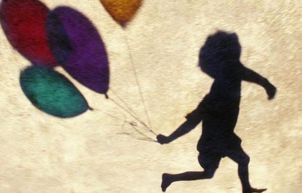 Picture joy, balloons, Wallpaper, shadow, boy