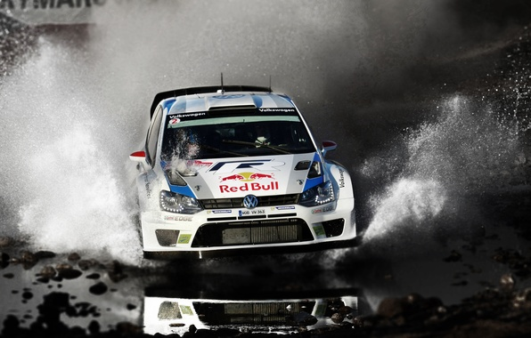 Picture Water, Auto, White, Volkswagen, Speed, Puddle, Squirt, WRC, Rally, Polo, Ancestor