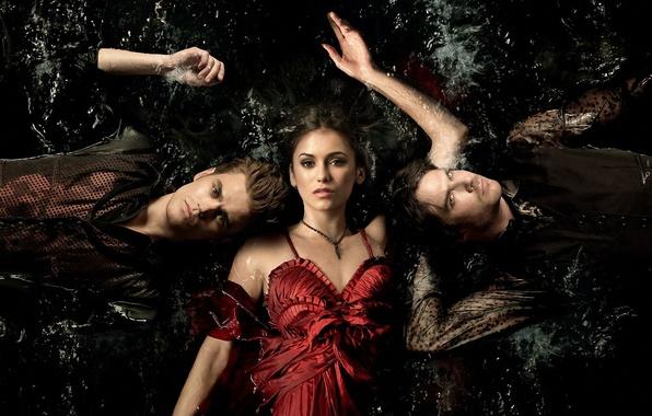 Picture Nina Dobrev, The vampire diaries, Ian Somerhalder, series, Paul Wesley