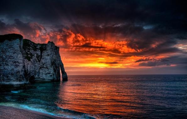 Picture sea, the sun, clouds, rays, landscape, sunset, rock, France, sea, France, Normandy, Etretat, Étretat