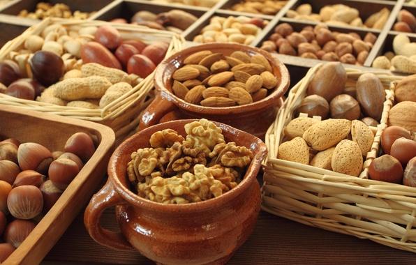 Picture nuts, almonds, acorn, basket, walnut, cuts, pots, funduc, Faris