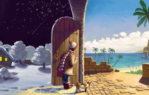 Picture winter, sand, sea, cat, summer, cat, stars, clouds, snow, trees, night, lights, house, palm trees, …