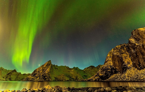 Picture sea, stars, landscape, mountains, night, stones, Northern lights, Iceland