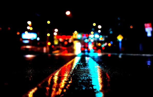 Wallpaper City Lights Night Bokeh High Contrast Rainy Images For Desktop Section