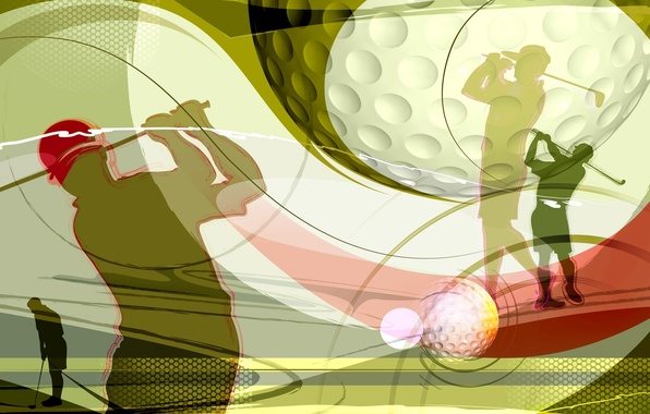 Picture collage, Wallpaper, vector, silhouette, blow, cap, stick, Golf, Golf