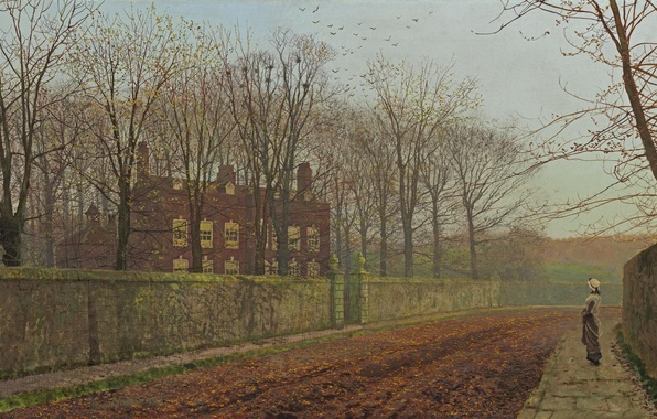 Picture road, autumn, girl, trees, birds, branches, house, street, the fence, picture, John Atkinson Grimshaw