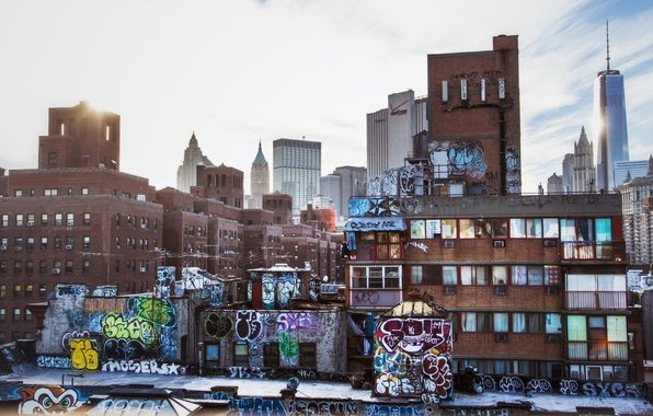Picture graffiti, building, home, Skyscrapers, City, USA, New York, Urban, New York, NYC, Layers