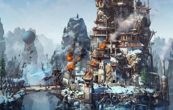 Picture rendering, fire, tower, robot, the airship, steampunk, fire, battle, magic, robot, landing, battle, rendering, siege, …