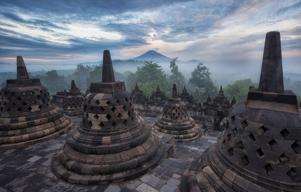 Picture the sky, clouds, trees, fog, mountain, the evening, Indonesia, haze, temple, architecture, Java, Borobudur