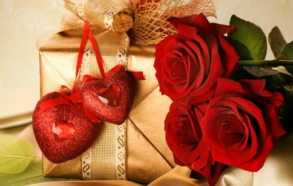 Picture love, flowers, gold, holiday, box, gift, feelings, roses, pair, tape, hearts, red, bow, Valentine's day, …